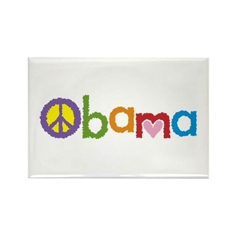 Peace, Love, Obama Rectangle Magnet (100 pack)