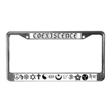 Peaceful Coexistence (b/w) License Plate Frame