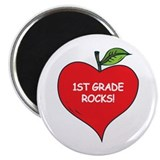 Heart Apple 1st Grade Rocks Magnet