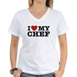 I Love My Chef Women's V-Neck T-Shirt