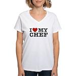 I Love My Chef Women's V-Neck T-Shirt