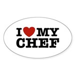 I Love My Chef Oval Sticker (10 pk)