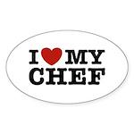 I Love My Chef Oval Sticker (10 pk)
