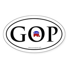 GOP Euro Styled Oval Bumper Decal