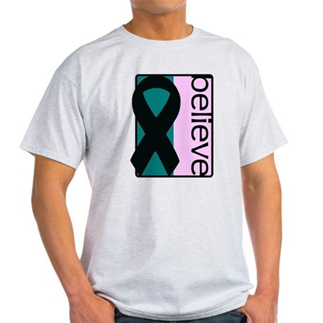 Teal and Pink (Believe) Ribbon Light T-Shirt