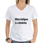 Military Intelligence (Front) Women's V-Neck T-Shi