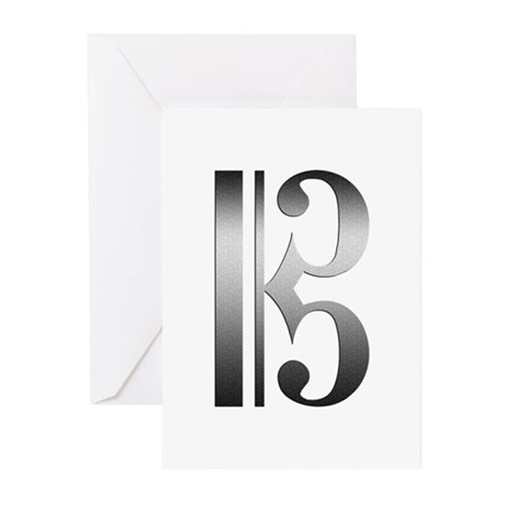 """""""Silver"""" C Clef Greeting Cards (Pk of 10)"""