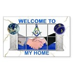 Masonic Welcome To My Home Rectangle Sticker
