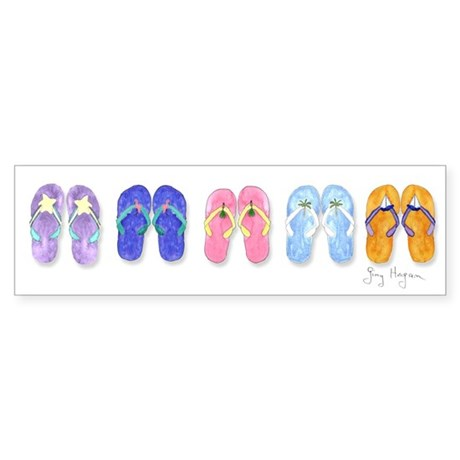 5 Pairs of Flip-Flops Bumper Sticker