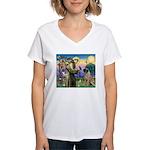 St Francis / Bullmastiff Women's V-Neck T-Shirt