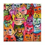 Tattoo Cats Tile Coaster