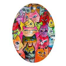 Tattoo Cats Oval Ornament