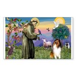 St. Francis & Collie Rectangle Sticker