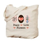 Peace Love Flowers Tote Bag