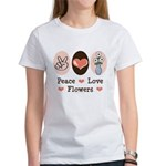 Peace Love Flowers Women's T-Shirt