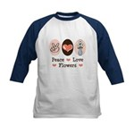 Peace Love Flowers Kids Baseball Jersey