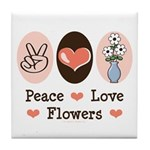 Peace Love Flowers Tile Coaster