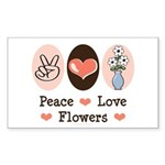Peace Love Flowers Rectangle Sticker