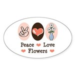 Peace Love Flowers Oval Sticker (10 pk)
