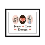 Peace Love Flowers Framed Panel Print