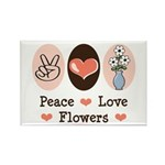 Peace Love Flowers Rectangle Magnet (100 pack)