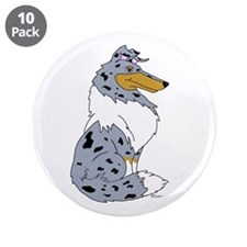 "Blue Merle Rough Collie 3.5"" Button (10 pack)"