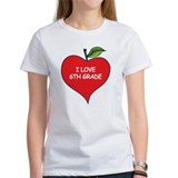 Heart Apple I Love 6th Grade Tee