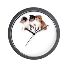 Collie Wall Clock (Smooth Collie Puppies)