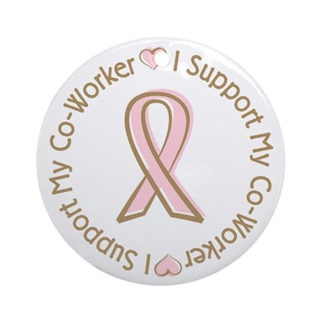 Breast Cancer Support Co-worker Ornament (Round)