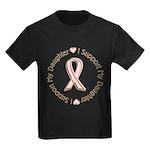 Breast Cancer Support Daughter Kids Dark T-Shirt