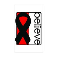 Red and White (Believe) Ribbon Rectangle Decal