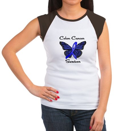 Colon Cancer Survivor Butterfly Women's Cap Sleeve