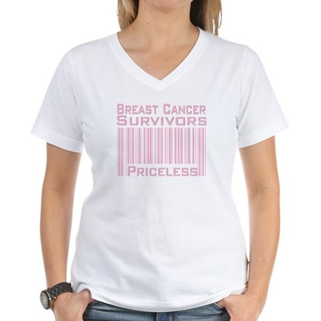 Breast Cancer Survivors Priceless Women's V-Neck T