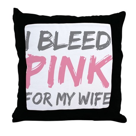Pink Breast Cancer Wife Throw Pillow