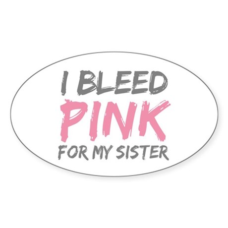 Pink Breast Cancer Sister Oval Sticker