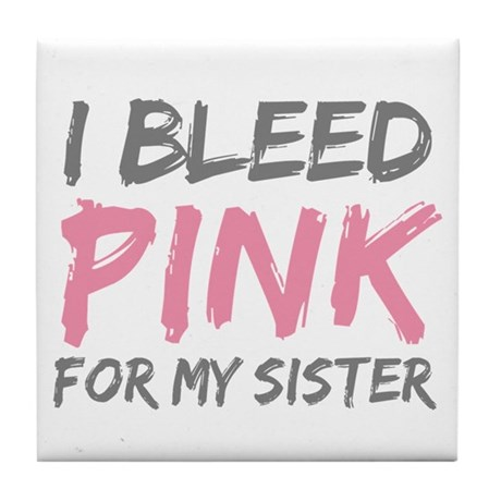Pink Breast Cancer Sister Tile Coaster