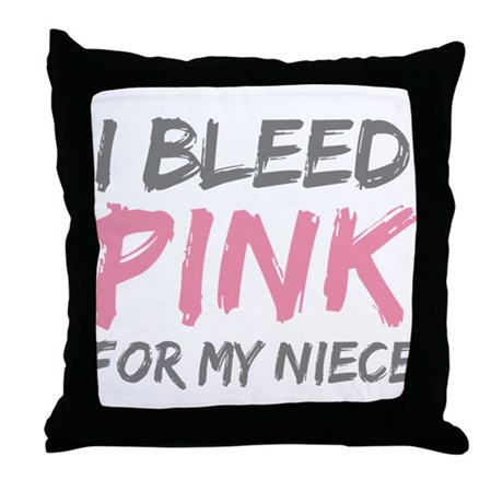 I Bleed Pink Breast Cancer Ni Throw Pillow