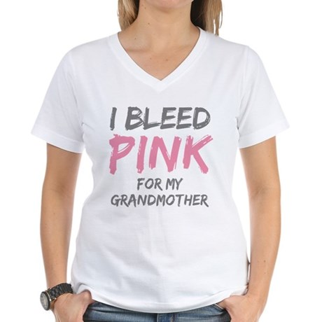 I Bleed Pink Grandmother Women's V-Neck T-Shirt