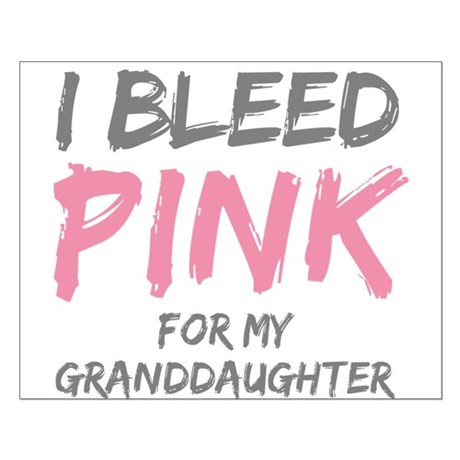 I Bleed Pink Granddaughter Small Poster