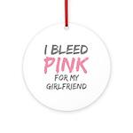 Pink Breast Cancer Girlfriend Ornament (Round)