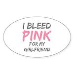 Pink Breast Cancer Girlfriend Oval Sticker