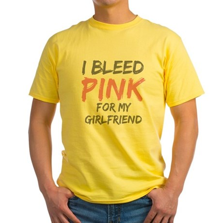 Pink Breast Cancer Girlfriend Yellow T-Shirt