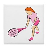 Pink Tennis Girl Tile Coaster
