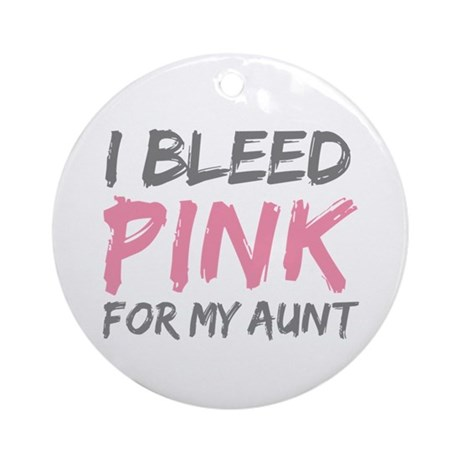Pink Breast Cancer Aunt Ornament (Round)