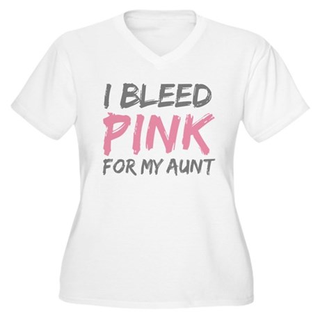 Pink Breast Cancer Aunt Women's Plus Size V-Neck T