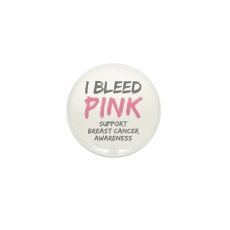 I Bleed Pink Cancer Awareness Mini Button (100 pac