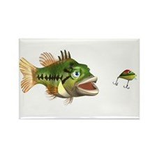 Fish and Lure Rectangle Magnet