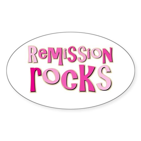 Remission Rocks Breast Cancer Oval Sticker