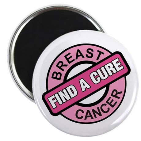 "Pink Breast Cancer Find a Cur 2.25"" Magnet (100 pa"