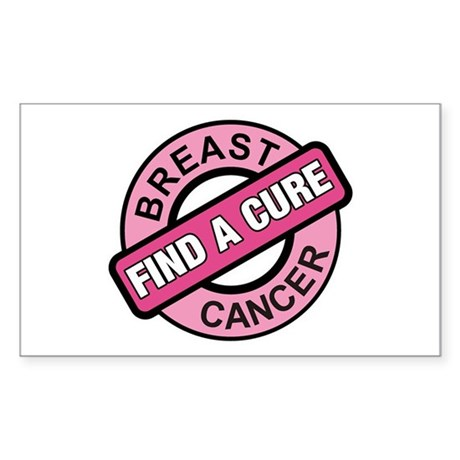 Pink Breast Cancer Find a Cur Sticker (Rectangular